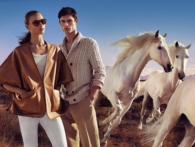 Horses may gallop in the background, but Anna and Arthur keep it cool in neutral hues.