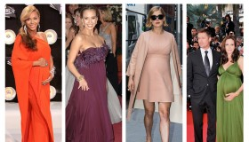 Maternity style from Beyonce, Jessica Alba, Rosamund Pike and Angelina Jolie. Photo: PR Photos/Shutterstock.com