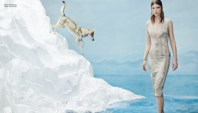 The melting ice gives way to spring fashions for the editorial.