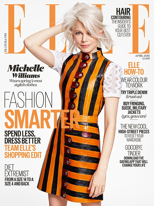 Michelle Williams covers the April 2015 cover of ELLE UK wearing a black and orange striped dress from Louis Vuitton.