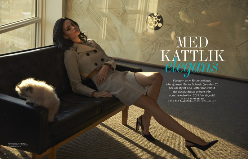 Moa Aberg models with cats for fashion editorial featured in DV Mode, photographed by Asa Tallgard.