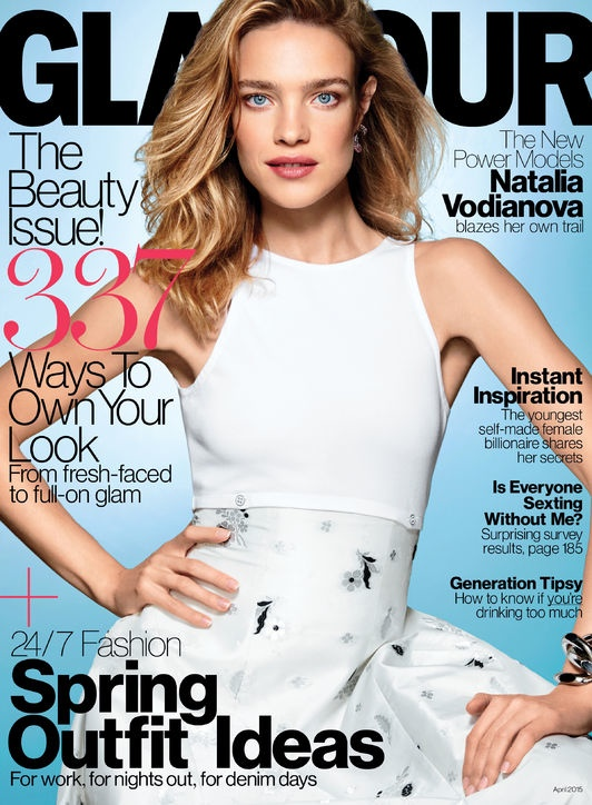 Natalia Vodianova Graces the April 2015 cover from Glamour wearing a Dior dress.