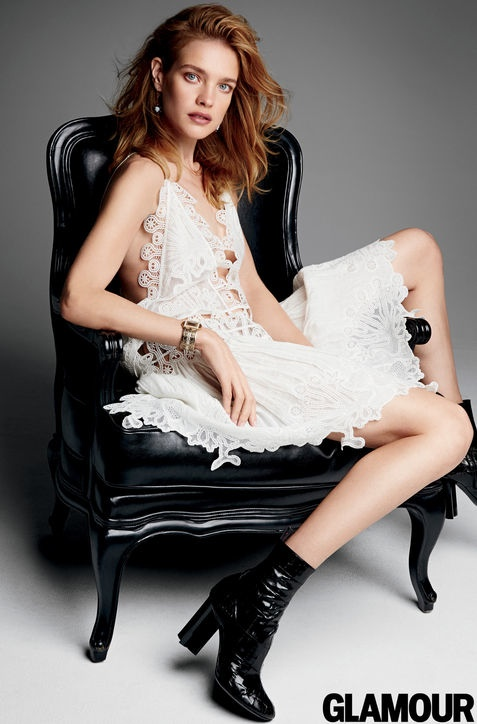 Natalia Vodianova Wears White Dresses For Glamour Photoshoot