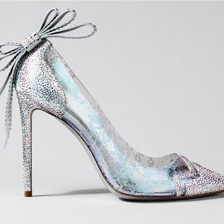 Nicholas Kirkwood went whimsical for his Cinderella inspired designer featuring a bow, lace and a hint of turquoise.