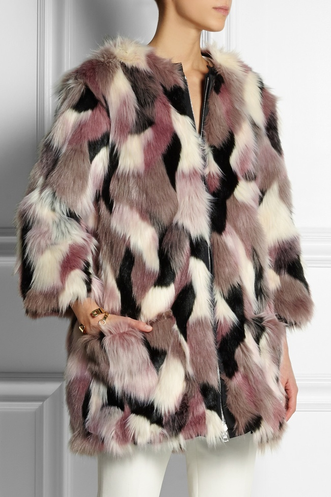 Nina Ricci Reversible Patchwork Faux Fur Coat available for $2,100.00
