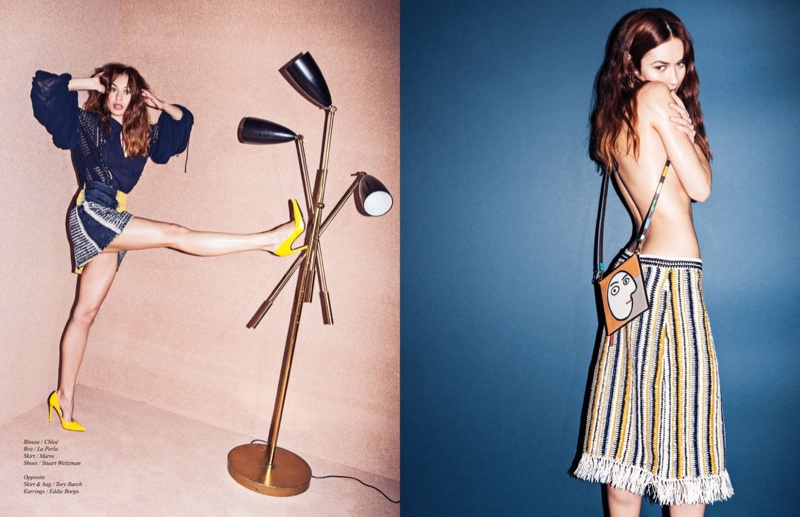 Donning designs from the spring collections, Olga shows she can channel more than her glam side for shoots.