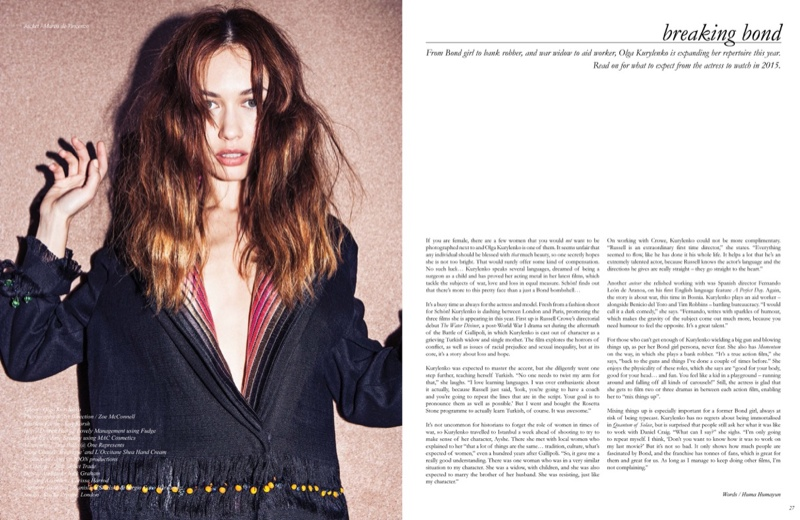 The former Bond girl shows off her kooky side for the spread.