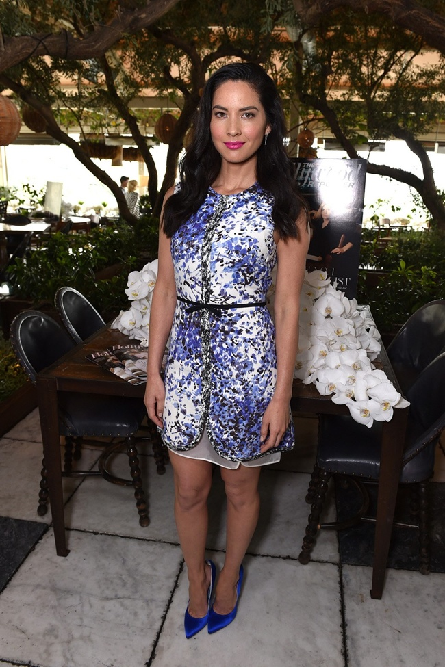 Olivia Munn opted for a Giambattista Valli spring 2015 dress in purple.