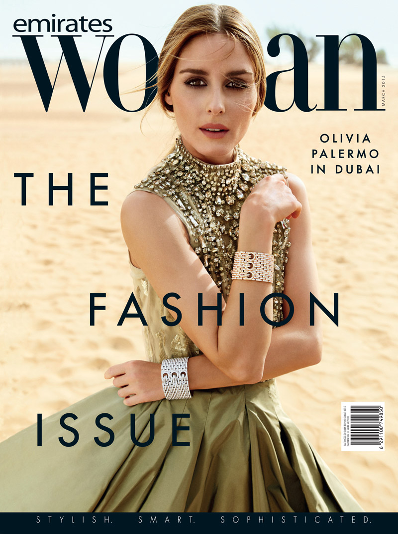 Olivia Palermo appears on the March 2015 issue from Emirates Woman Magazine. She wears a Ralph Lauren dress.