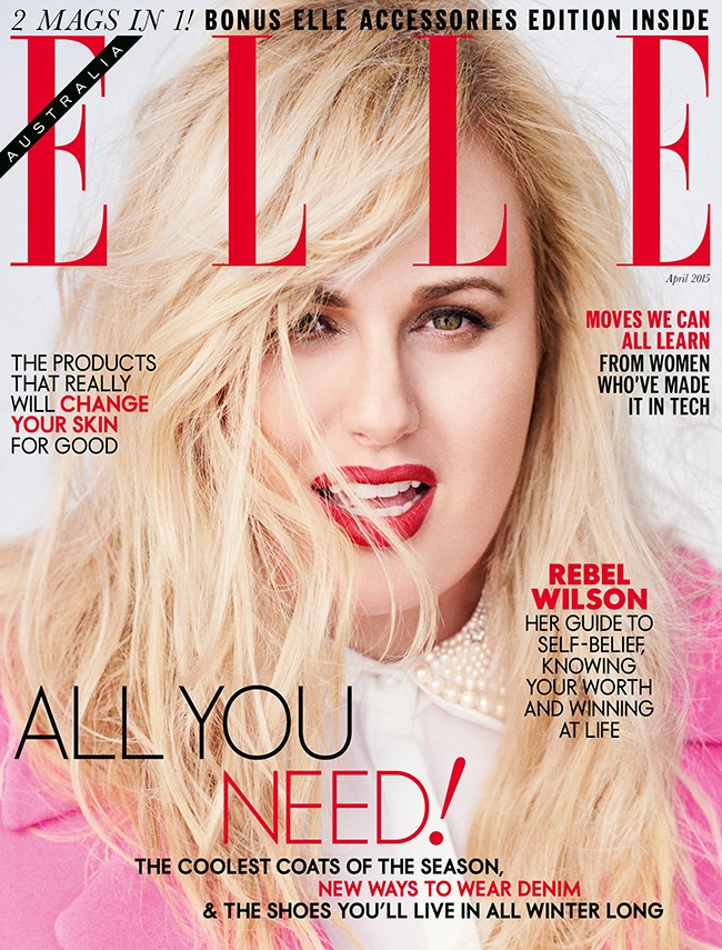 Actress Rebel Wilson poses on the April 2015 cover from ELLE Australia.