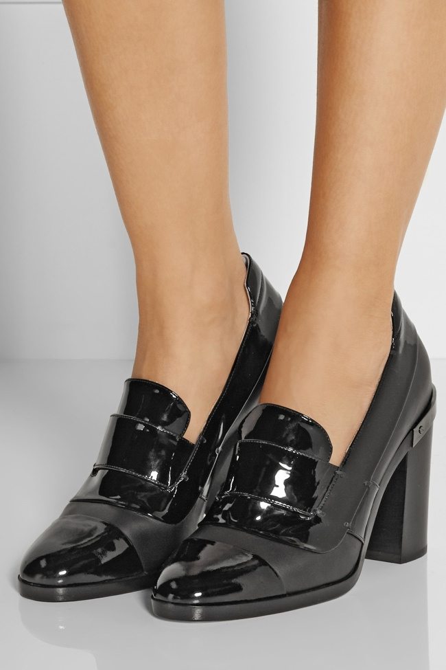Oxfords were popular shoe styles of the 1930s. Contemporary styles go for more chunky and taller heels. Reed Krakoff Metal Trimmed Patent Leather Pumps.