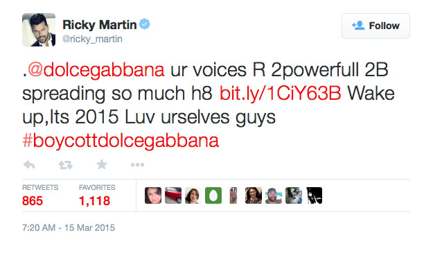 Ricky Martin told Dolce & Gabbana to love themselves on his Twitter feed.