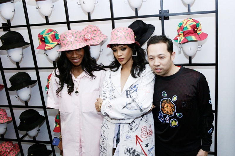 Rihanna at her friend Melissa Forde's bucket hat launch at Opening Ceremony. Photo via OC