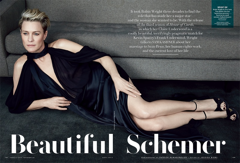 In the new issue, Robin talks playing the icy Claire Underwood on Netflix's 'House of Cards'