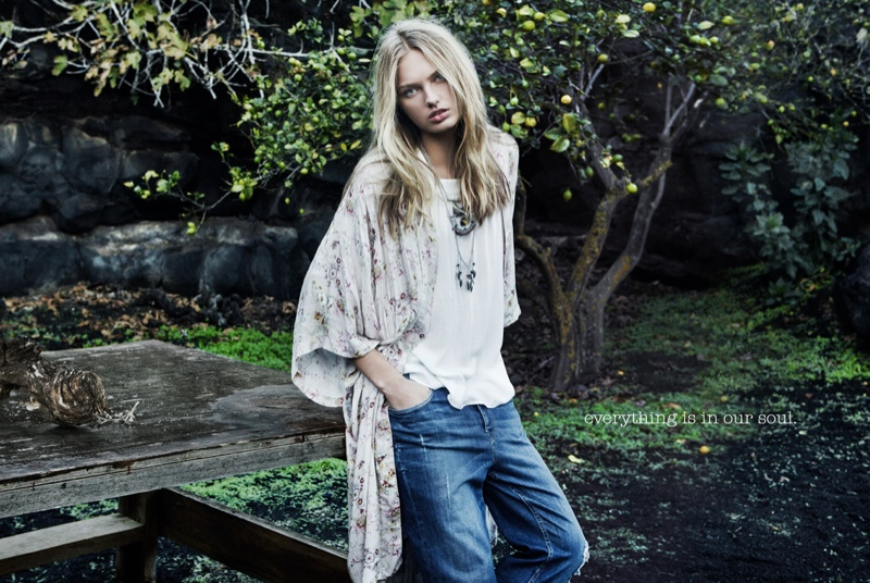 The Dutch model wears bohemian inspired fashion in the images.