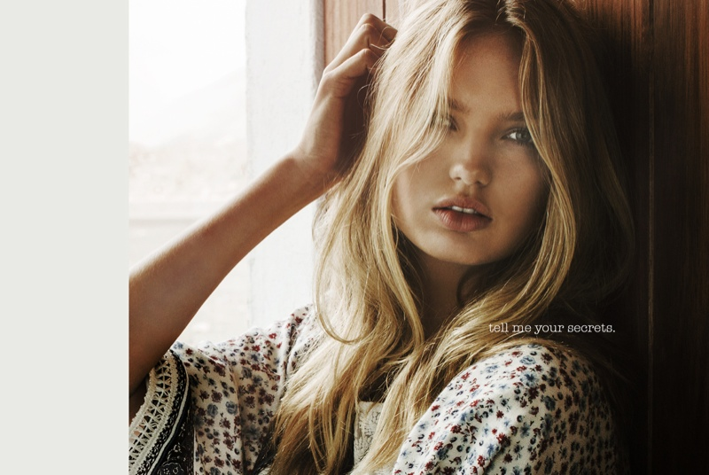 The blonde beauty looks fresh faced and casual in the Spanish label's latest advertisements.