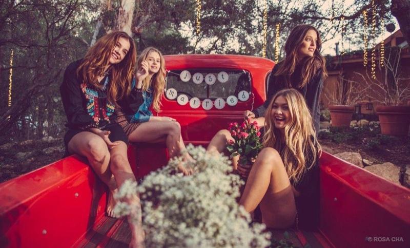 Lottie Moss, Barbara Palvin, Emily DiDonato & Gigi Hadid star in Rosa Cha winter 2015 campaign.