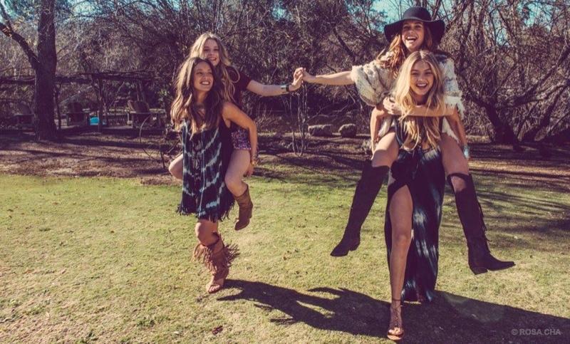 Emily, Barbara, Gigi and Lottie have fun in Rosa Cha winter ads.