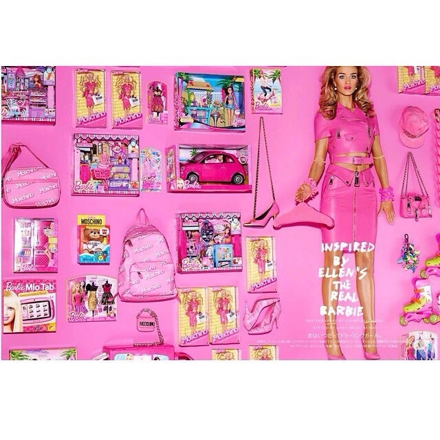 Rosie Huntington-Whiteley looks just like Barbie as she wears a pink Moschino look.