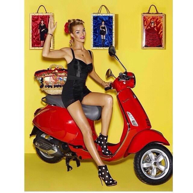 Rosie channels an Italian Barbie as she models Dolce & Gabbana's designs.