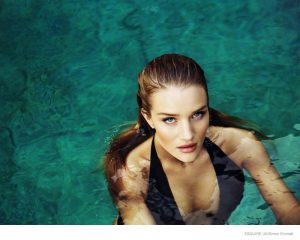 Rosie Huntington-Whiteley Sports Swimsuits in Esquire UK Feature