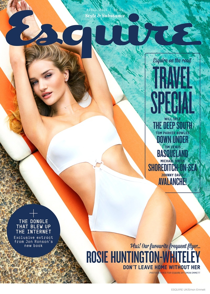 Rosie Huntington-Whiteley lands the April 2015 cover from Esquire UK wearing a white swimsuit.