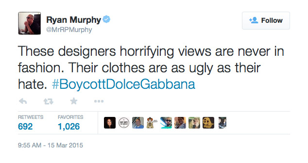 Ryan Murphy commented on the Dolce & Gabbana controversy on his Twitter page.