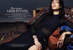 Sabrina Ioffreda Wears Working Girl Fashion for Bazaar Germany