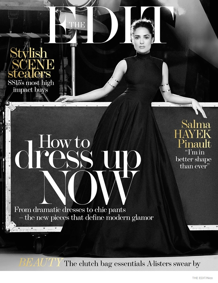 Wearing a long black dress, Salma Hayek covers the February 19, 2015, issue of The Edit.