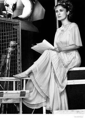 Salma Hayek Plays Dress Up on Set