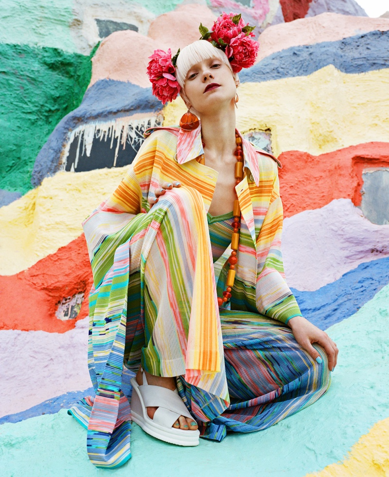 Nora wears a colorful Missoni look at Salvation Mountain
