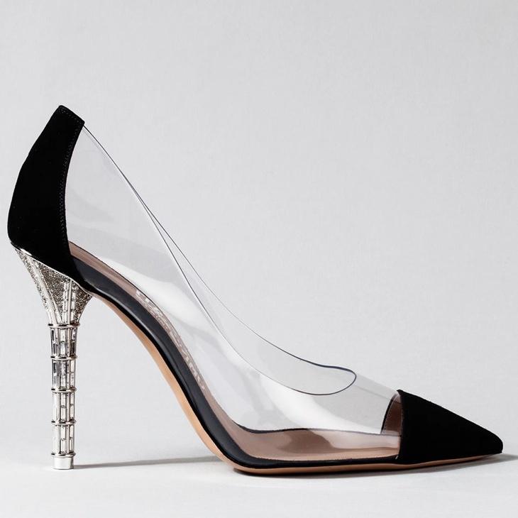 Salvatore Ferragamo creative director Massimiliano Giornetti created a shoe with transparency including Swarovski crystals and black accents.