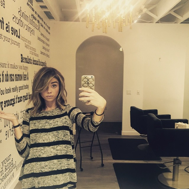 BEFORE: Sarah Hyland with a lob or long bob haircut. Photo via Instagram.
