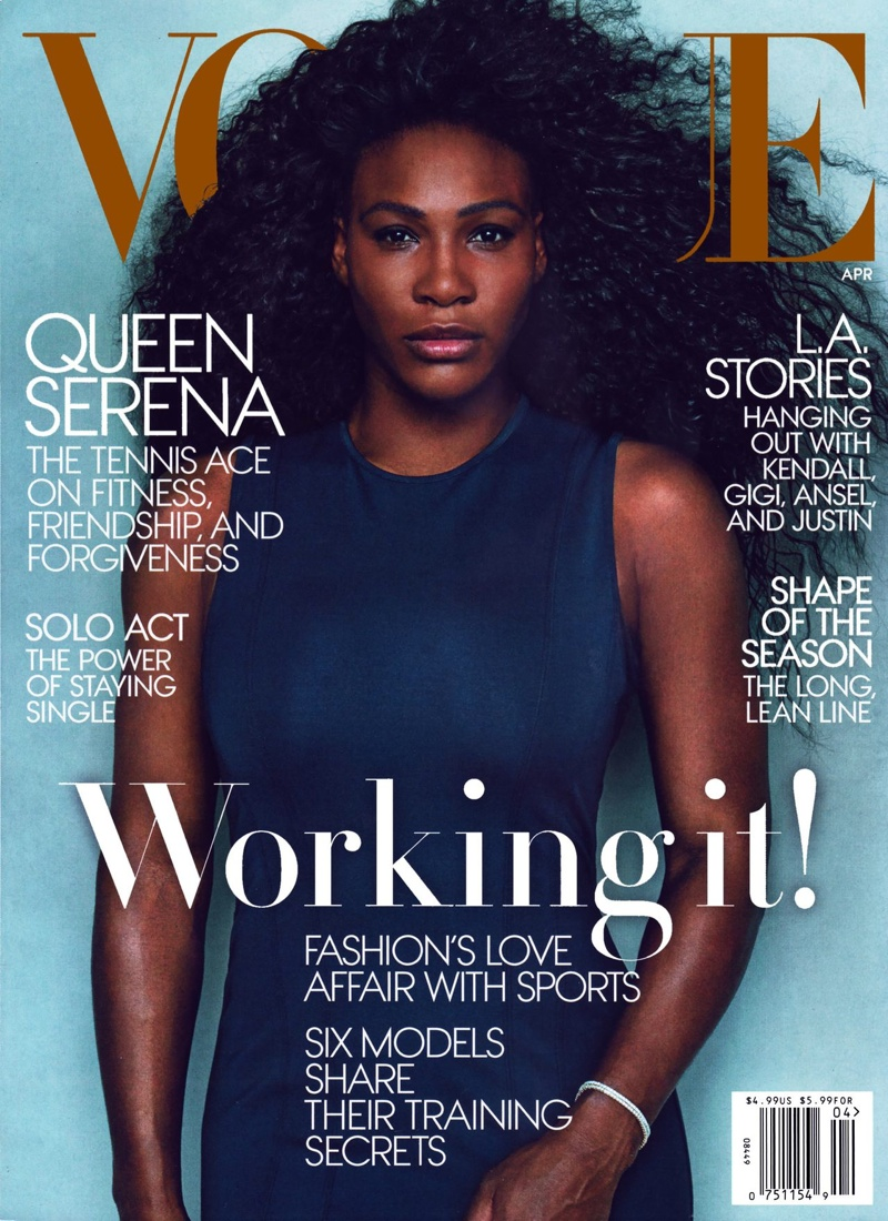 Serena Williams lands the April 2015 cover from Vogue. This is the tennis star's second cover for the magazine.