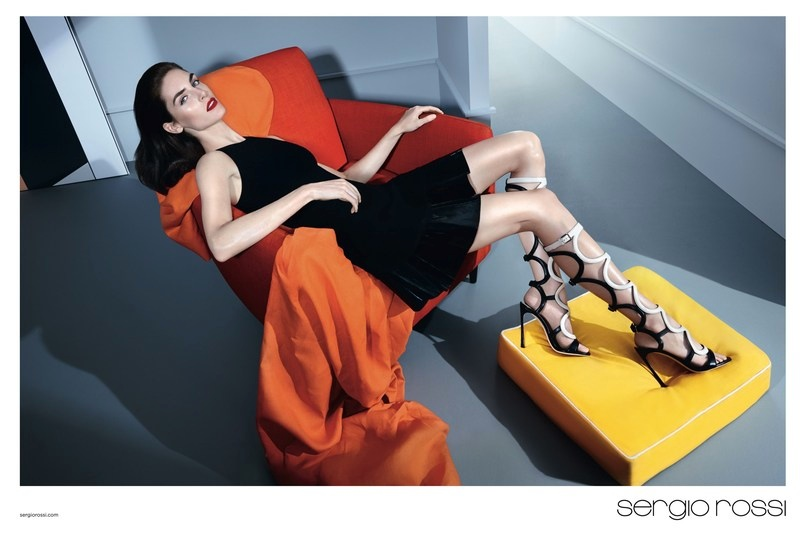 Hilary Rhoda lands the spring-summer 2015 advertisements from shoe label Sergio Rossi.