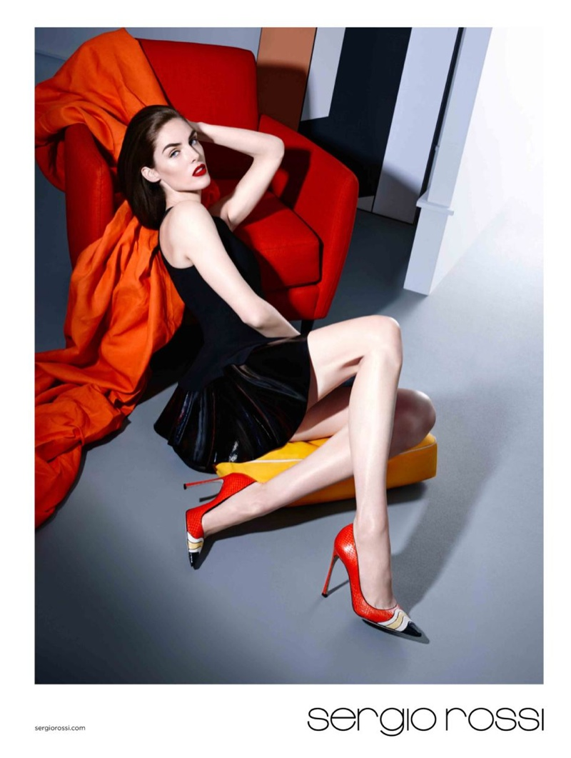 Sergio Rossi's spring ads feature the brunette posing in strappy heel styles.