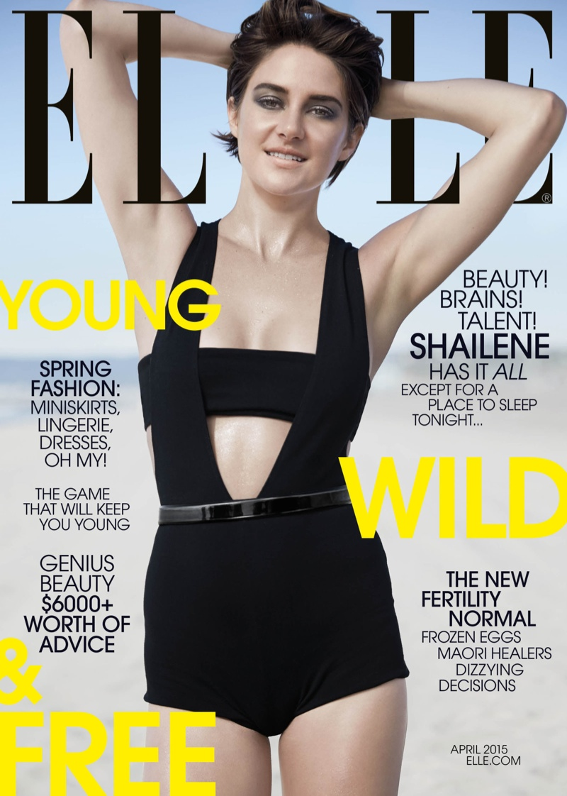 Shailene Woodley graces the April 2015 cover of ELLE US wearing a Balmain bodysuit and bralette in black.