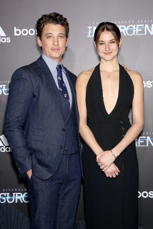 Shailene Woodley poses with co-star Miles Teller at 'Insurgent' NY premiere.