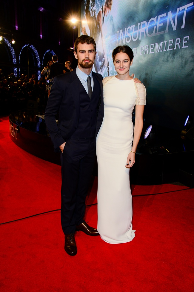 Shaiiene Woodley poses with co-star Theo James at the 'Insurgent' world premiere in London.