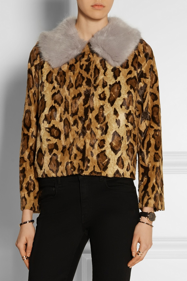 Shrimps Cropped Print Faux Fur Jacket available for $630.00
