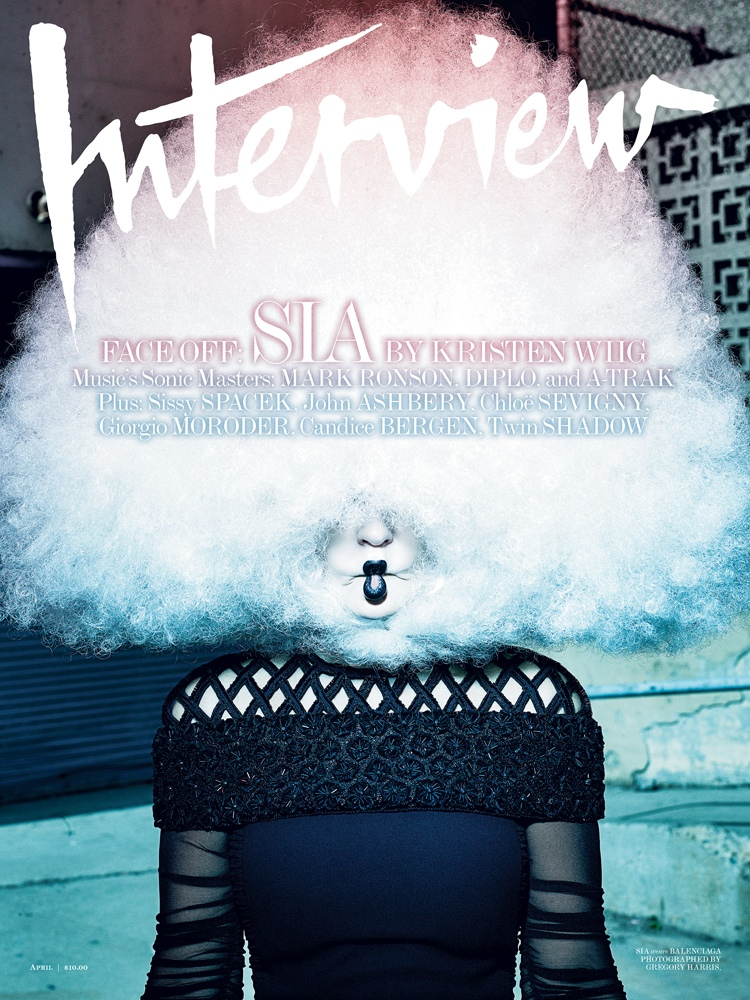 Sia lands the April 2015 cover from Interview Magazine.