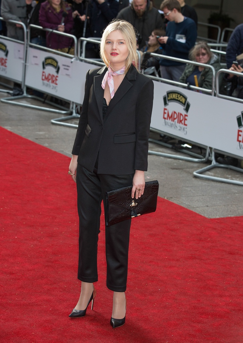 Sophie Kennedy donned a black Vivienne Westwood Anglomania Pant Suit. Photo: Landmark / PR Photos