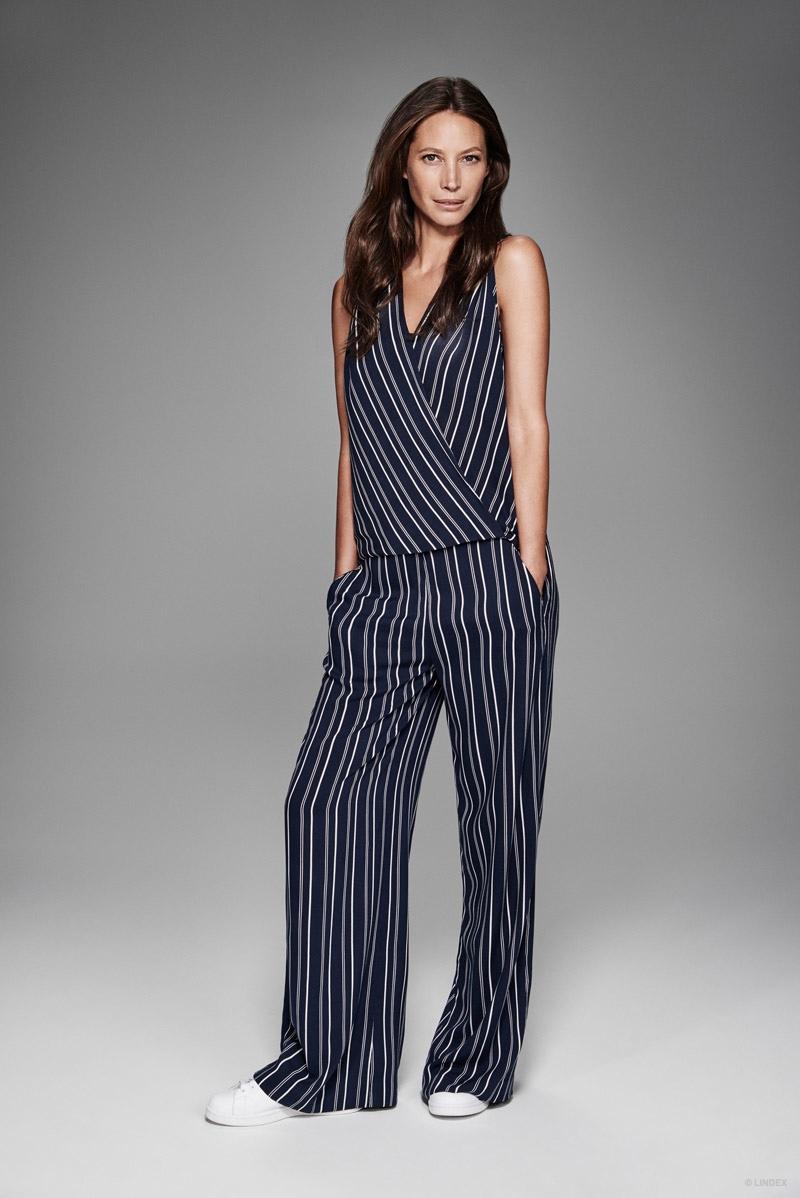 Christy Turlington models a striped jumpsuit look for Lindex.