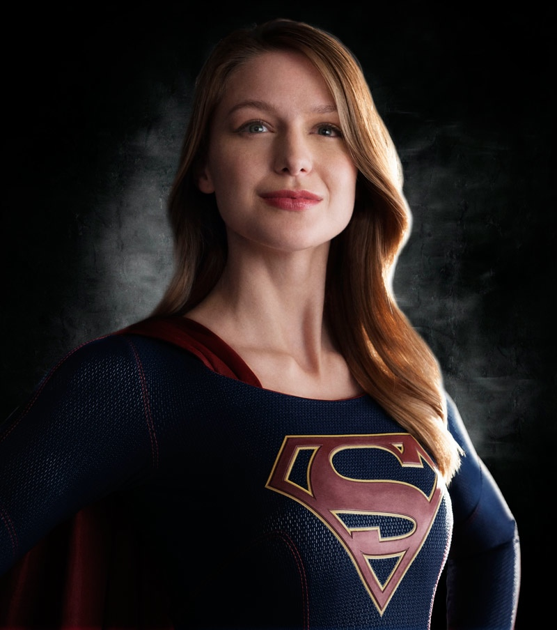 Melissa Benoist wears Supergirl costume for 2015 television show.