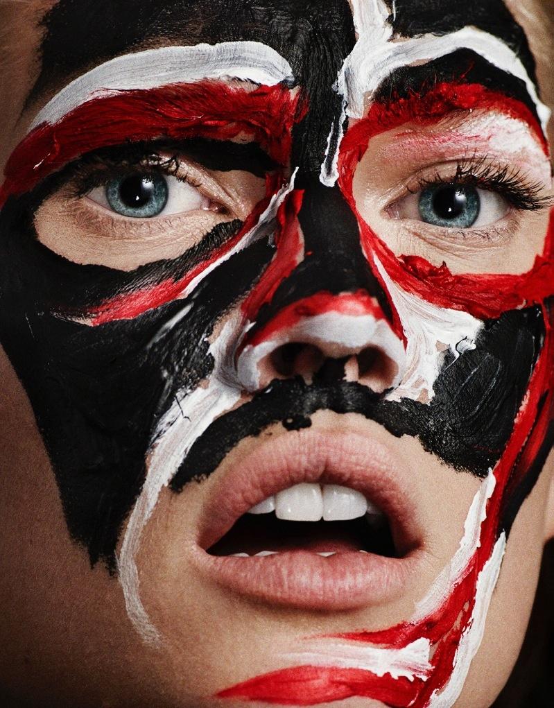 Photographers Hunter & Gatti captured Toni with masks for the fashion feature.