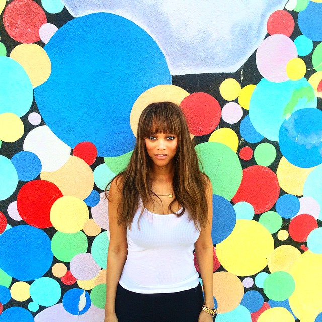 BEFORE: Tyra Banks with longer hair earlier this month. Photo via Instagram.