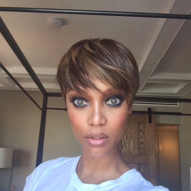 Tyra Banks revealed a pixie cut on Instagram in March 2015.