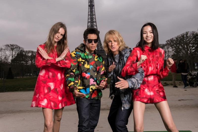'Zoolander' stars Ben Stiller and Owen Wilson pose with Tilda Lindstam and Xiao Wen Ju at the Eiffel Tower. Photo via Valentino.