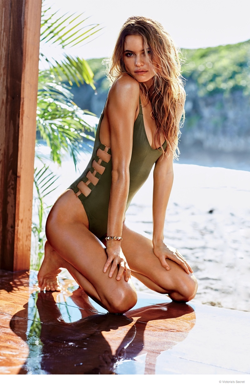 0ea8702818 ... 2015 Catalogue Cover! Behati Prinsloo looks hot in a green, cut-out  swimsuit look from Victoria's Secret