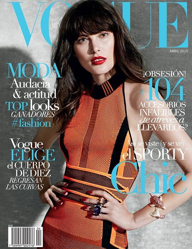Catherine McNeil stars on Vogue Mexico April 2015 cover by James Macari